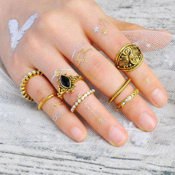 Rhinestone Engraved Gypsy Ring Set