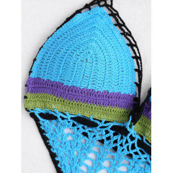 Halter Crochet Padded Backless Swimsuit - LIGHT BLUE S