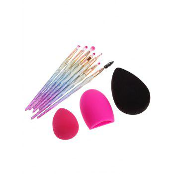 Brush Egg Makeup Brushes Set With Sponge Puff -  multicolorCOLOR
