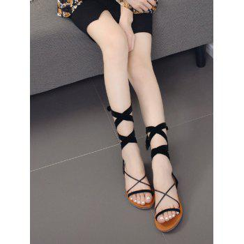 Cross Straps Tie Up Sandals