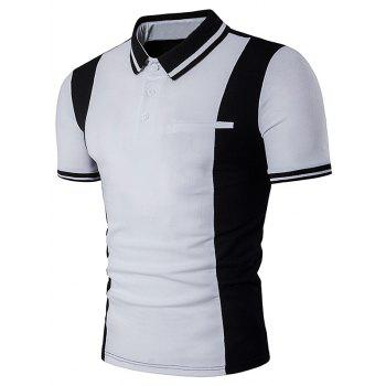 Varsity Stripe Color Block Panel Polo T-Shirt