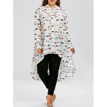 Plus Size Butterfly Print Chiffon Long Sleeve High Low Top