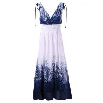 Tie Shoulder Shirred Waist Ombre Dress