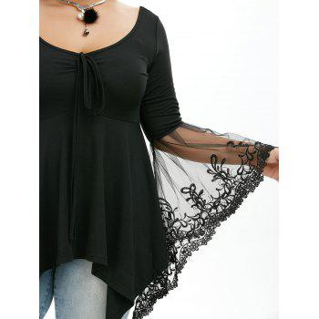 Plus Size Flare Sleeve Handkerchief Tunic Top - BLACK 5XL