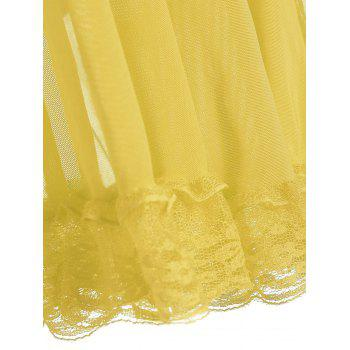 Lace Panel Ruffles Mesh Sheer Slip Babydoll - YELLOW YELLOW