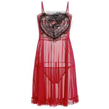 Lace Panel Ruffles Mesh Sheer Slip Babydoll - RED RED