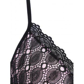 Lace Mesh Sheer Slip Babydoll with Ruffles - ONE SIZE ONE SIZE