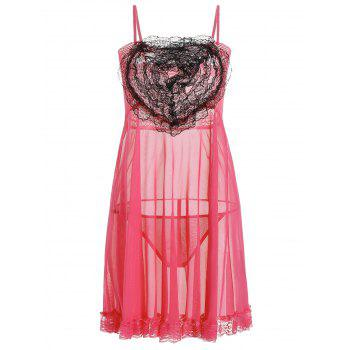 Lace Panel Ruffles Mesh Sheer Slip Babydoll - WATERMELON RED WATERMELON RED