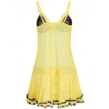 Lace Mesh Sheer Slip Babydoll with Ruffles - YELLOW YELLOW