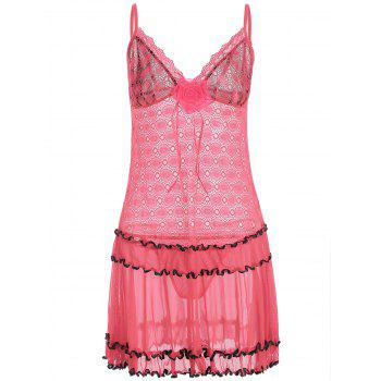 Lace Mesh Sheer Slip Babydoll with Ruffles - DEEP PINK ONE SIZE