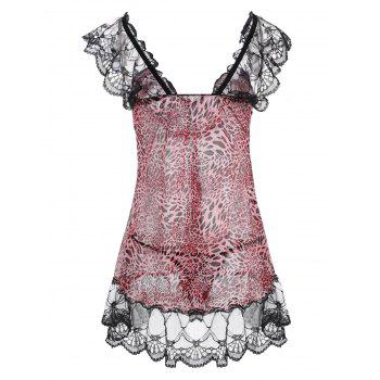 Lace Panel Leopard Flounce Babydoll - PINK PINK