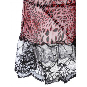 Lace Panel Leopard Flounce Babydoll - ONE SIZE ONE SIZE