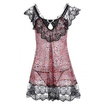 Lace Panel Leopard Flounce Babydoll - PINK ONE SIZE