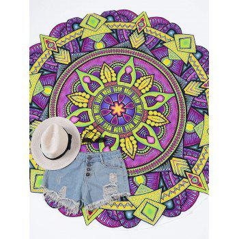 Round Mandala Print Beach Throw - PURPLE PURPLE