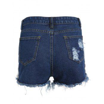 Frayed Embroidered Floral Denim Shorts - DEEP BLUE S