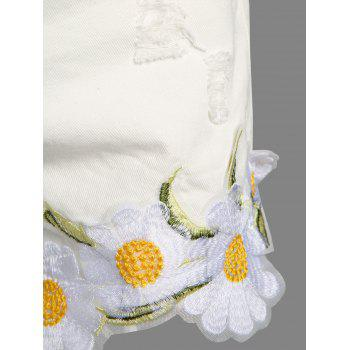 Frayed Embroidered Floral Denim Shorts - WHITE S