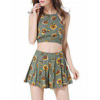 Floral Cropped Cami Top and High Waisted Shorts - GREEN XL