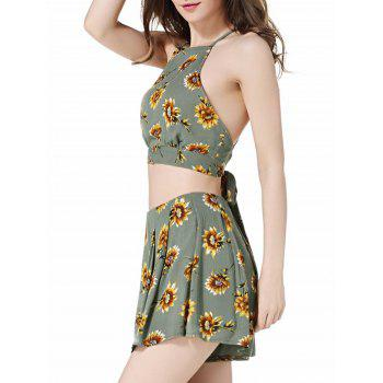 Floral Cropped Cami Top and High Waisted Shorts - GREEN S