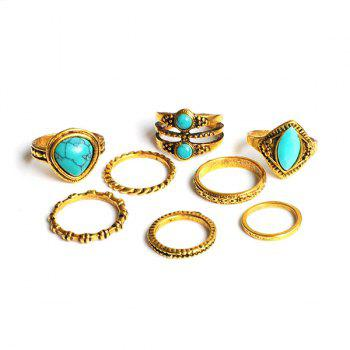 Faux Turquoise Teardrop Gypsy Ring Set - Or
