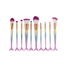 MAANGE 10 Pcs Rainbow Ombre Mermaid Makeup Brushes Set