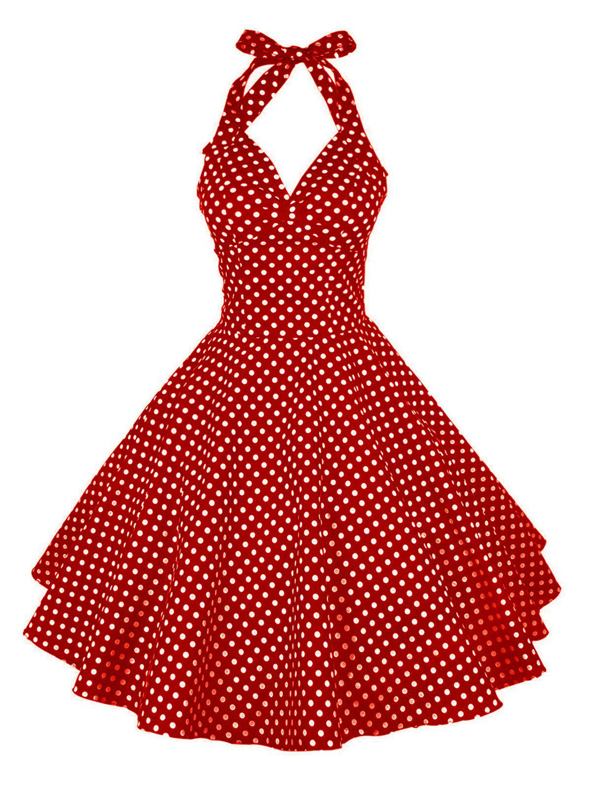 Vintage Halter Polka Dot Pin Up Dress - RED 2XL