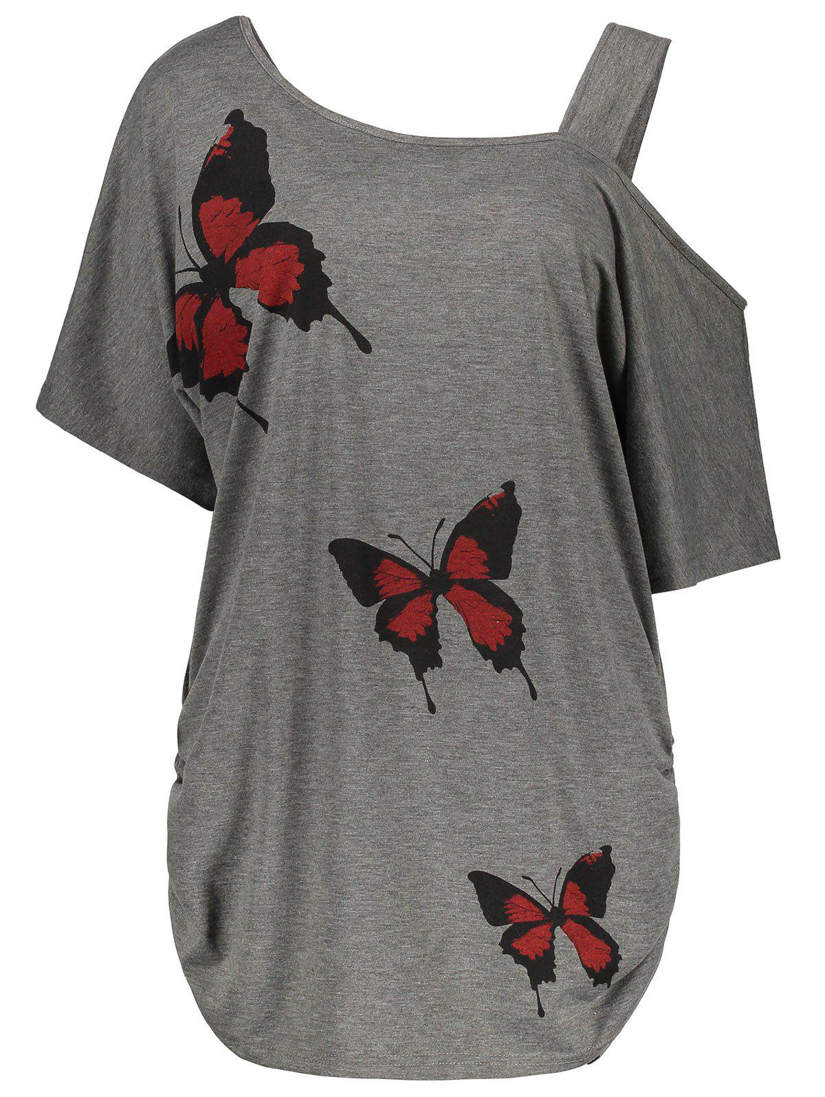 Plus Size Cold Shoulder Butterfly Print Top plus size cold shoulder butterfly print top