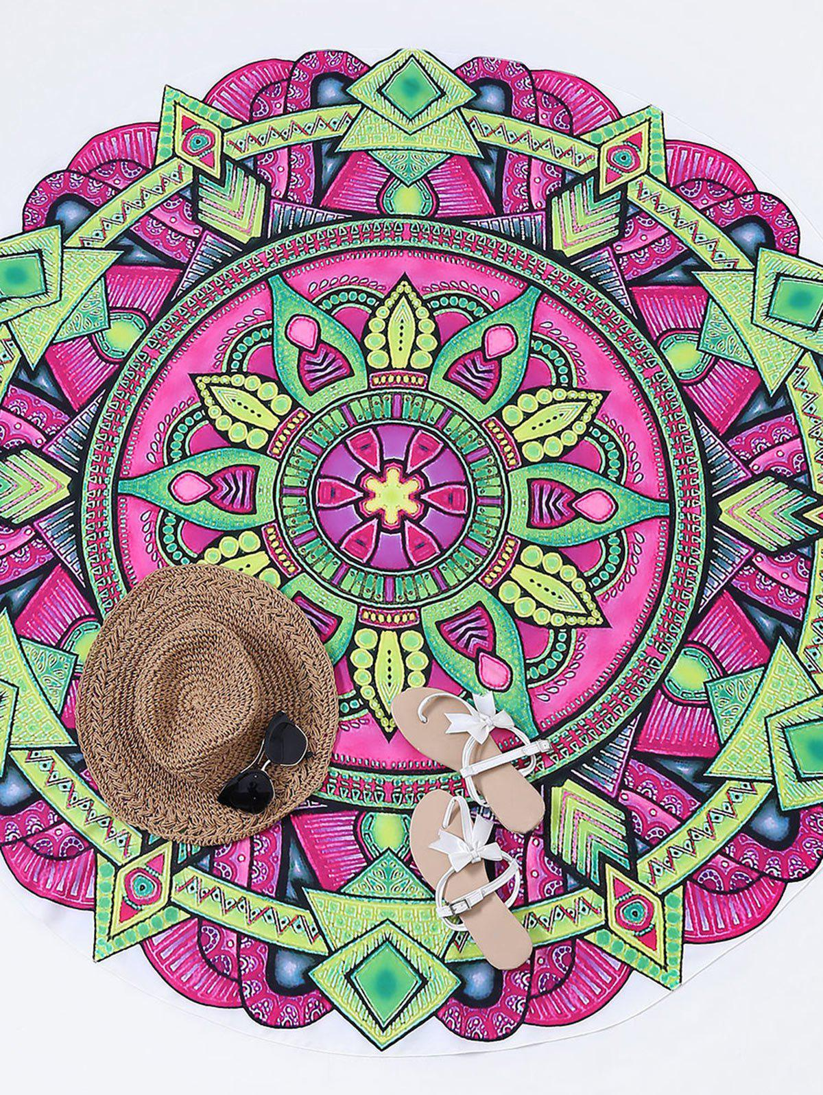 Round Mandala Print Beach Throw - PURPLISH RED ONE SIZE