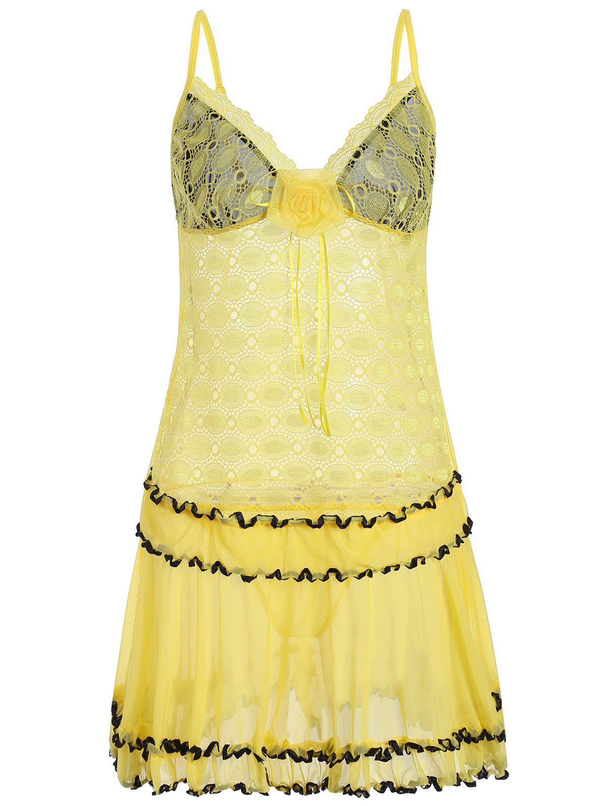 Lace Mesh Sheer Slip Babydoll with Ruffles - YELLOW ONE SIZE