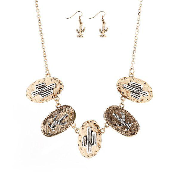 Cactus Emboss Metal Plating Necklace and Earrings 931 emboss