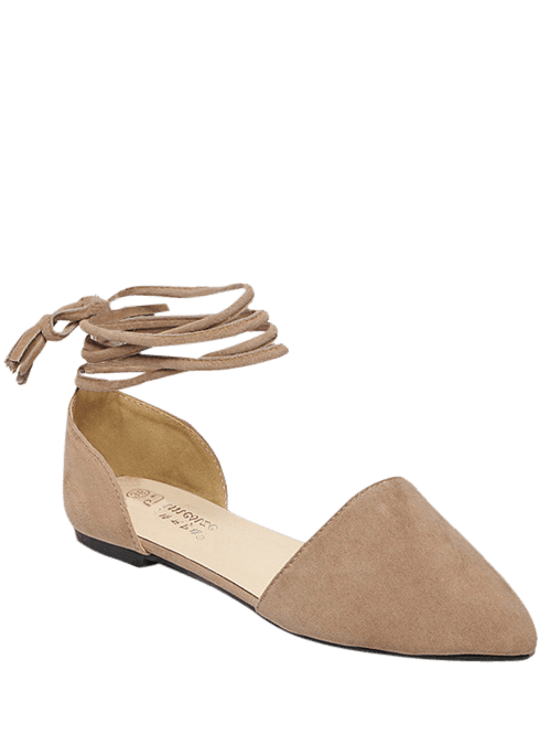 Pointed Toe Flock Tie Up Flat Shoes - LIGHT KHAKI 39