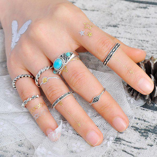 Engraved Faux Turquoise Gypsy Ring Set - SILVER