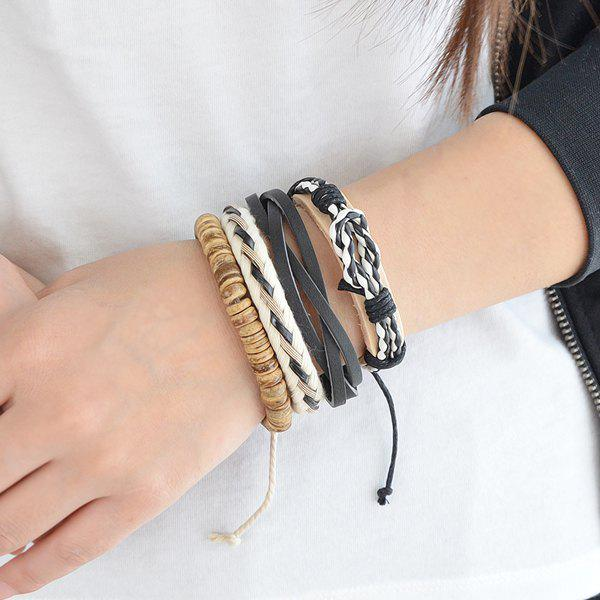 Bracelet en cuir artificiel Braid en couches - multicolorcouleur