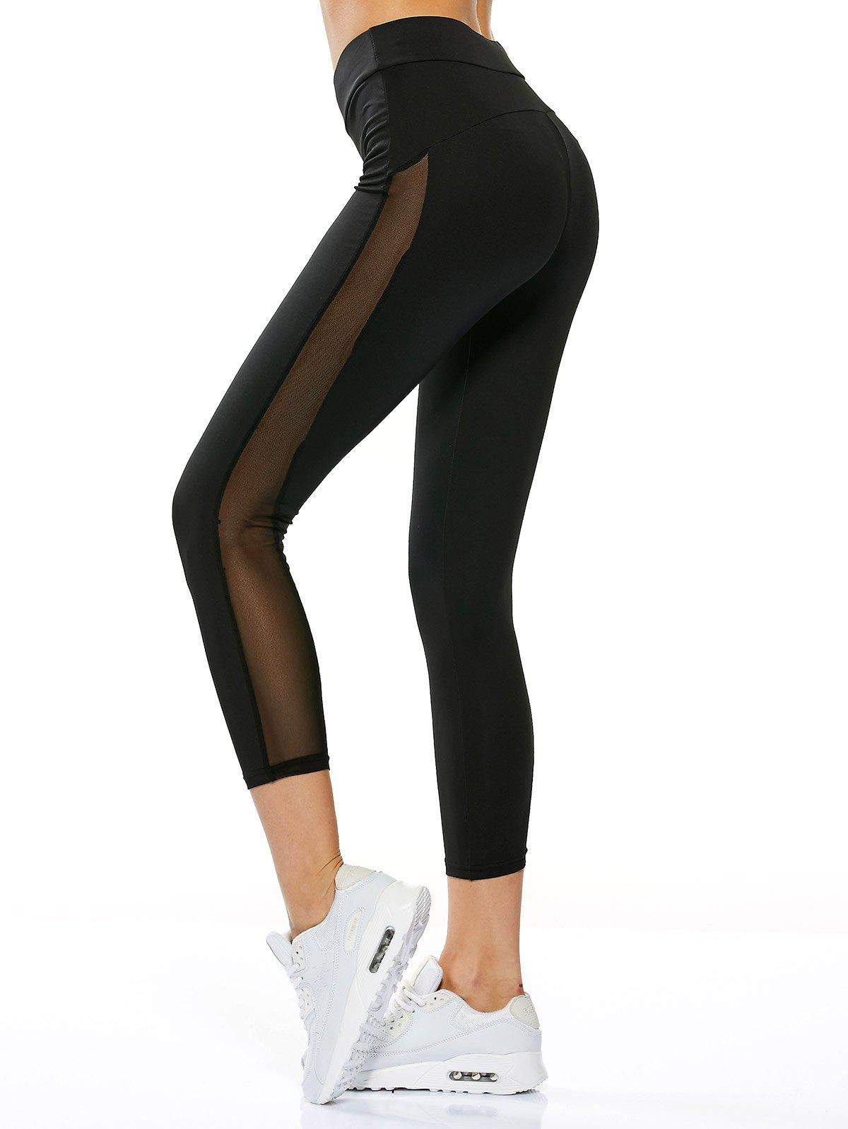 High Waisted Sheer Mesh Insert Capri Leggings, BLACK, S in Pants ...