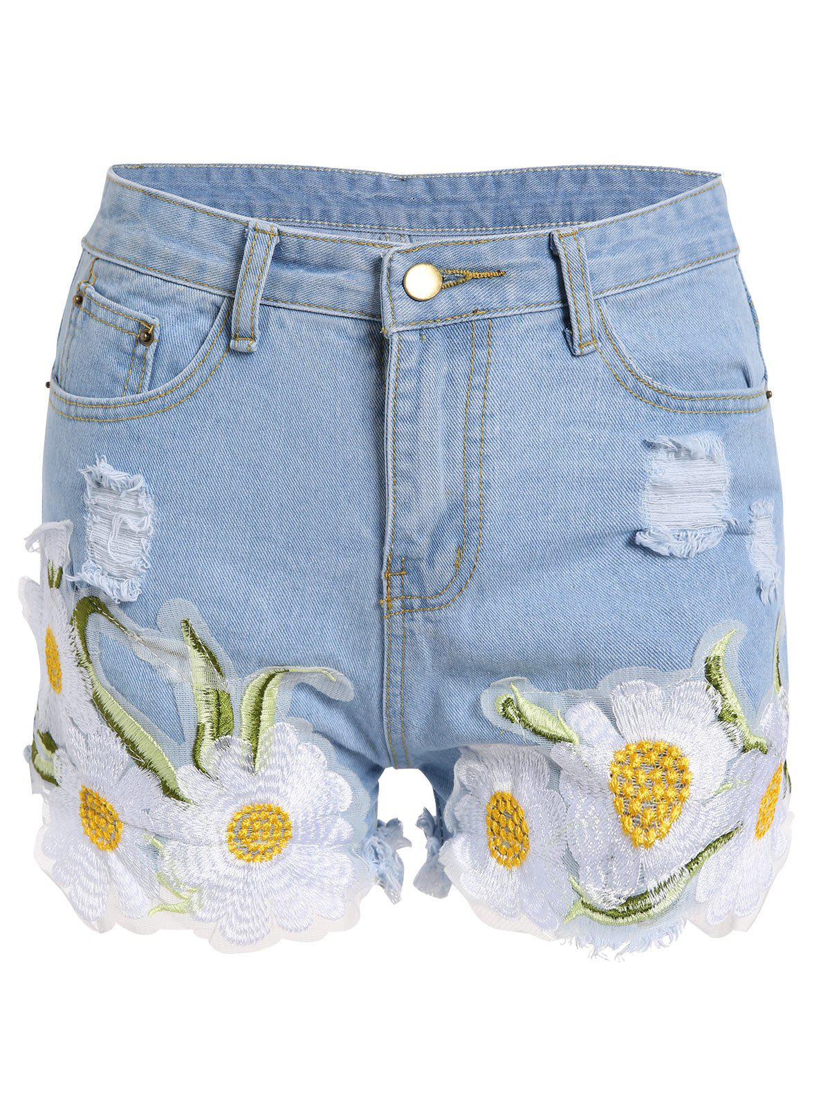 Frayed Embroidered Floral Denim Shorts - LIGHT BLUE XL