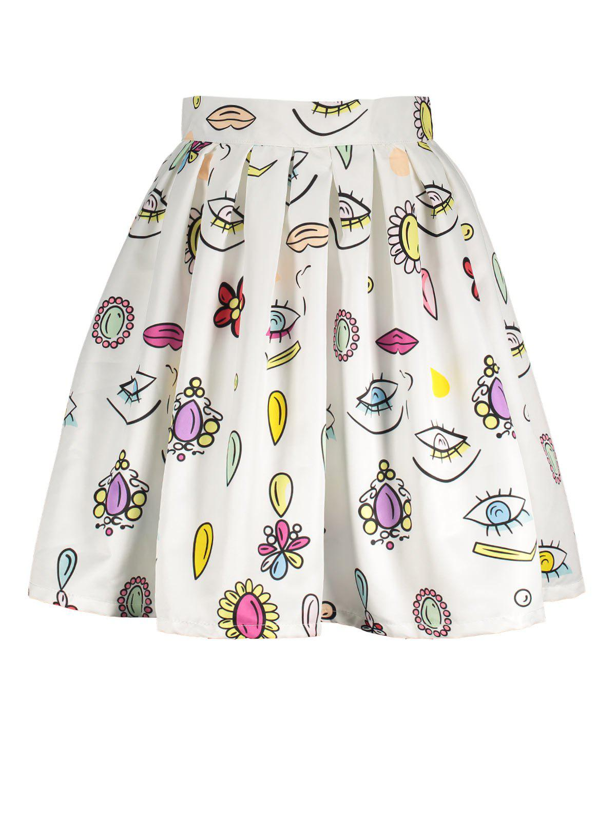 Eyes Print A Line Skirt - WHITE S