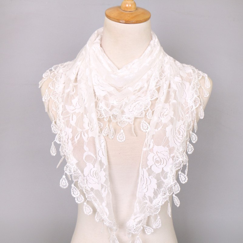 Waterdrop Tassel Triangle Lace Rose Scarf - WHITE