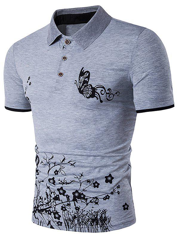 Butterfly and Floral Print Polo T-Shirt characteristic floral and butterfly shape lace decorated body jewelry for women