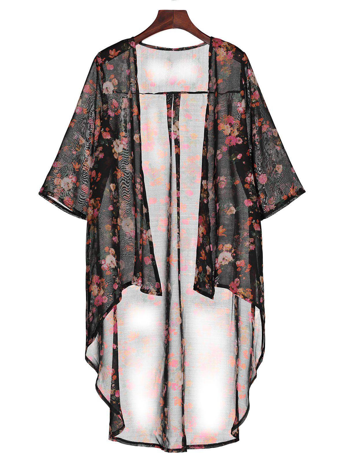 High Low Hem Chiffon Long Floral Kimono - BLACK L