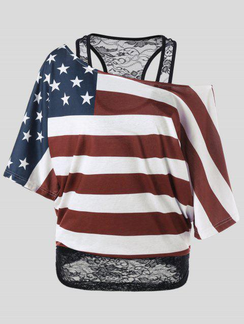 Plus Size Skew Collar American Flag T-Shirt - COLORMIX XL