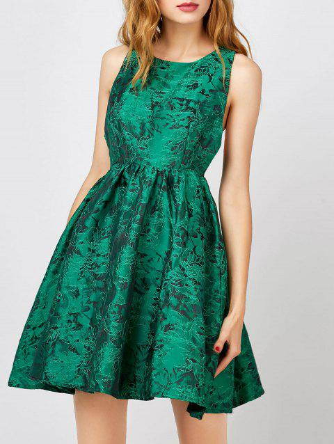 Textured Jacquard Cut Out Sleeveless Dress - GREEN M
