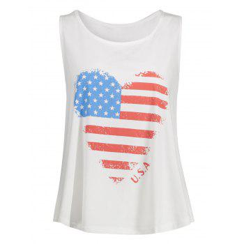 Heart Pattern Patriotic Plus Size American Flag Tank Top