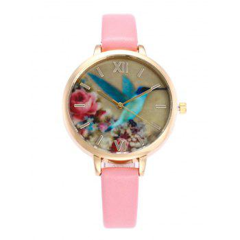Bird Floral Roman Numeral Faux Leather Watch