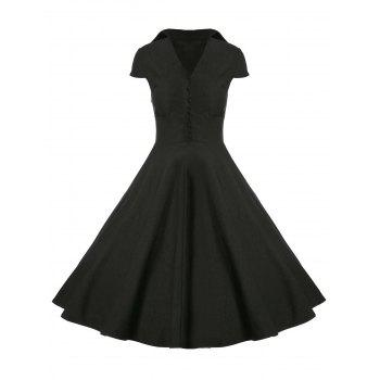 Buttoned A Line Vintage Dress