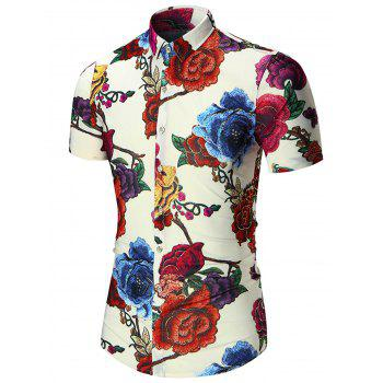 Plus Size Floral Printed Hawaiian Shirt