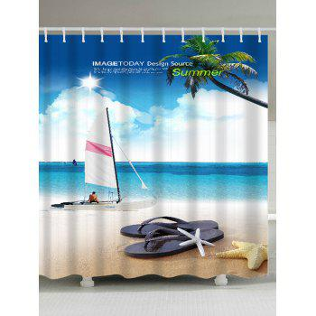 Sailing Boat 3D Beach Bathroom Shower Curtain