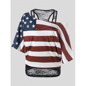 Plus Size Skew Collar American Flag T-Shirt