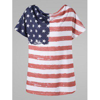 Plus Size Cow Neck American Flag T-Shirt