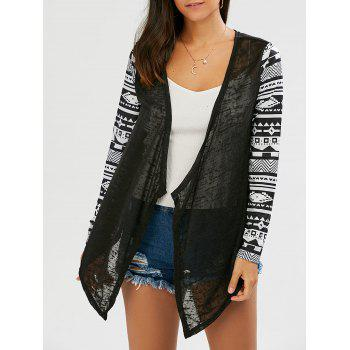 Open Front Collarless Asymmetric Cardigan