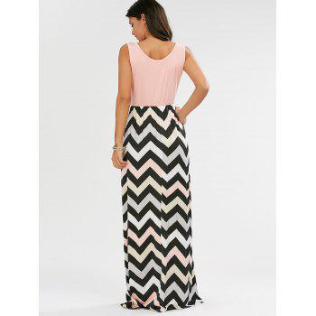 Sleeveless Scoop Neck Striped Long Dress - PINK M