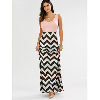 Sleeveless Scoop Neck Striped Long Dress - PINK XL